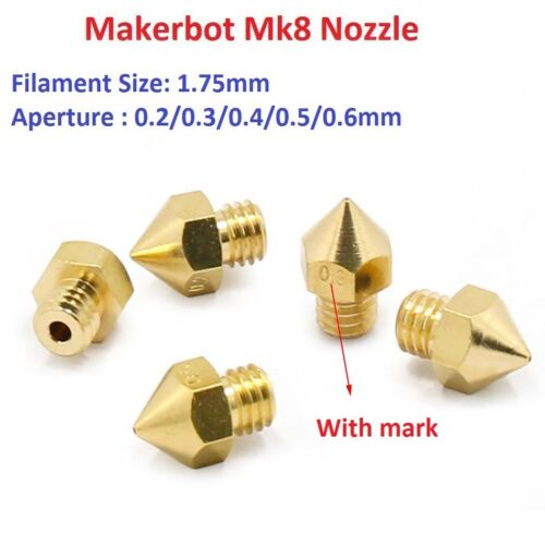 3D Printer 0.2-0.6mm Brass 1.75mm Mk8 Filament Extruder Nozzle Head For Makerbot