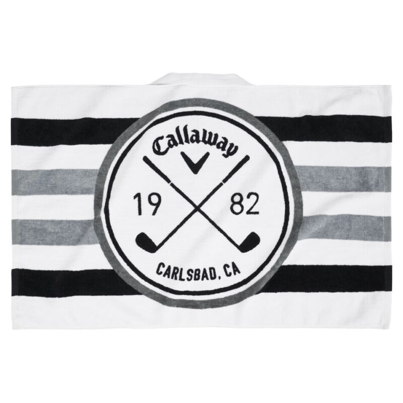 "Callaway Tour Golf Towel 30"" x 20"" White/Black/Charcoal - New 2021"