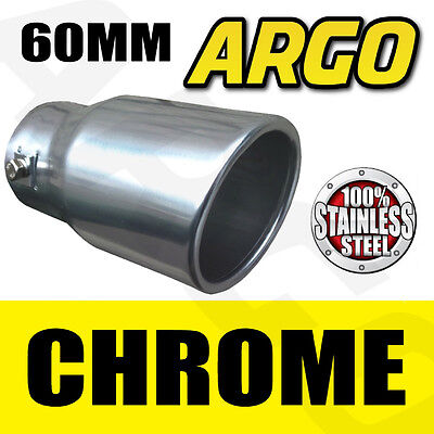 UNIVERSAL CHROME EXHAUST 60MM END MUFFLER PIPE TIP TRIM TAIL TALE