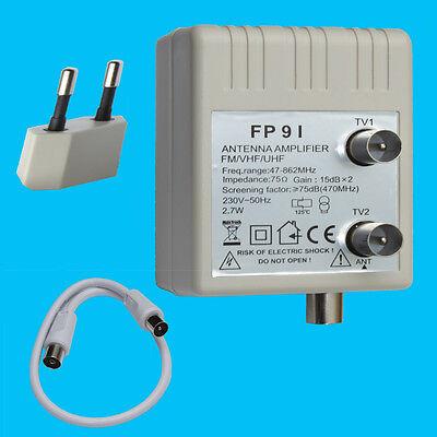 Antennenverstärker 2x15dB Kabel Verstärker Verteiler DVB-C  DVB-T BK Unitymedia
