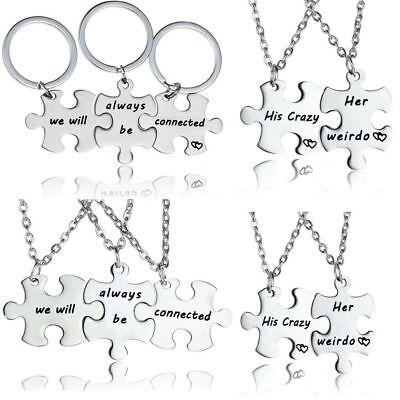 Puzzle Piece Pendant Necklace Keyring Jewellery Set Best Friends Gifts Presents (Puzzle Piece Necklace Set)