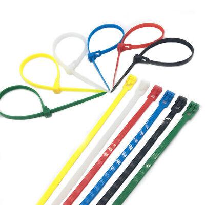 Releasable Reusable Plastic Zip Cable Tie Wraps Ratchet Ties Wire Banding Color