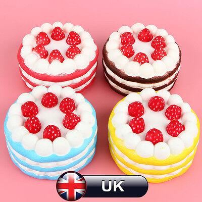 12CM Jumbo Squishy Strawberry Vanilla Cake Slow Rising Scented Bread Kids Toy UK