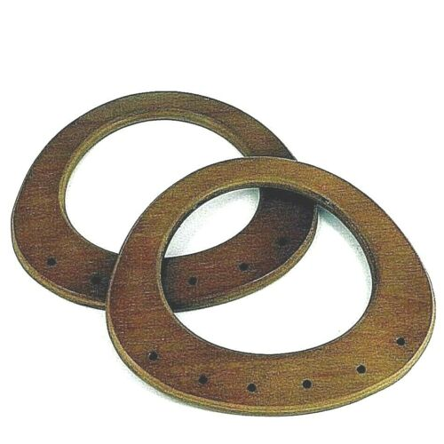 Bag Handles ,Pair of Oval Shaped Mid Brown Wood making bags Craft , Sewing BH18