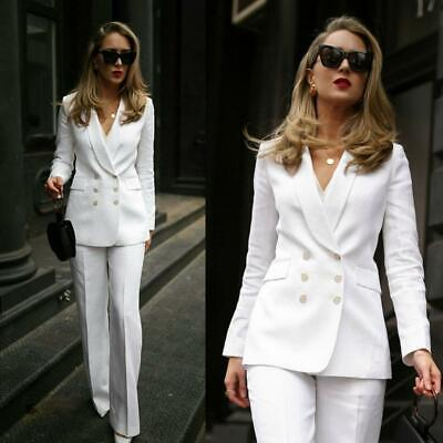 White Pant Suits For Women Ladies Business Office Formal Tuxedos Two Pieces Sets