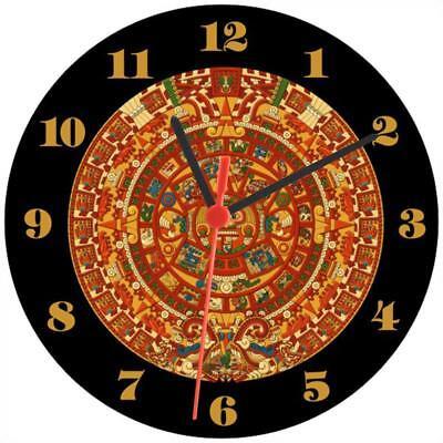 Clock-828 Villa Aztec Calendar Maya Mayan Wall Clock