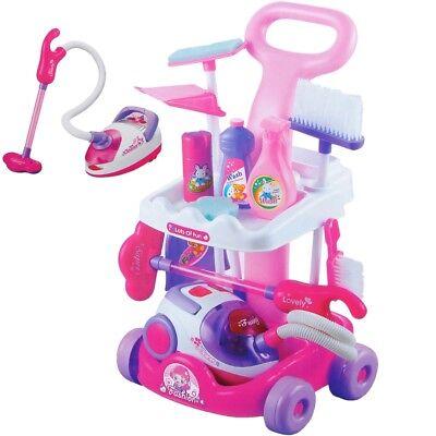 Putzwagen mit Staubsauger in Pink Reinigungswagen Spielzeug Spielküche kinder
