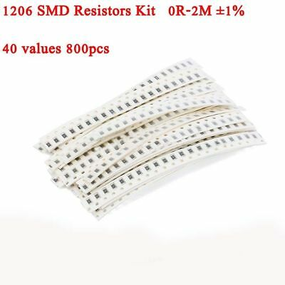 1206 Smd Chip Resistors Assortment Kit 0 Ohm - 2m Ohm 1 40 Values 800pcs
