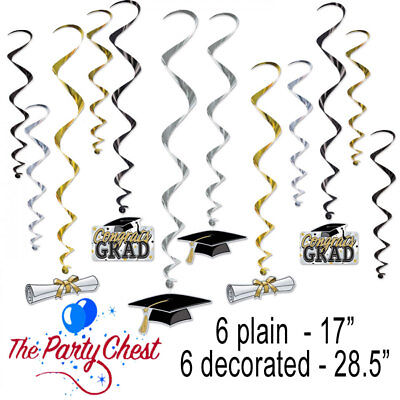 College Party Decorations (12 GRADUATION HANGING WHIRL DECORATIONS Uni College Grad Party Decorations)