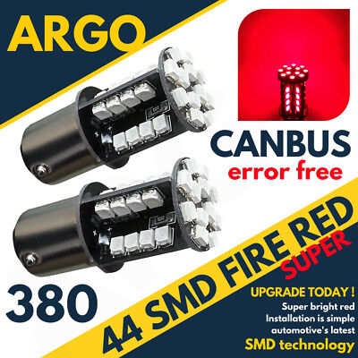 2 X RED TAIL/STOP/BRAKE LED SMD CANBUS BULBS ERROR FREE 380 1157 BAY15D 44 HID