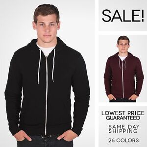 NEW-American-Apparel-Zip-Hoodie-Flex-Fleece-F497-Hooded-Sweatshirt-25-Colors