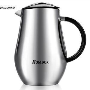 Homdox Kaffeezubereiter 1,0 L Edelstahl French Press Kaffeebereiter Teekocher