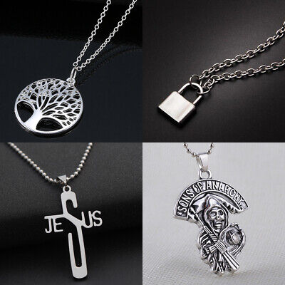 Silver Chain Dragon/Skull/Padlock Pendant Mens Womens Necklace Charm Chains (Mens Skull Dragon)