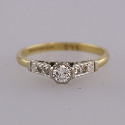 Vintage 0.22 Carat Diamond Solitaire Ring 18ct Yellow Gold Size Q