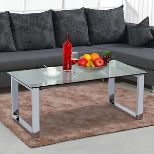 Modern Chrome Glass Coffee Table Metal Base High Gloss Glass Side End Table  New