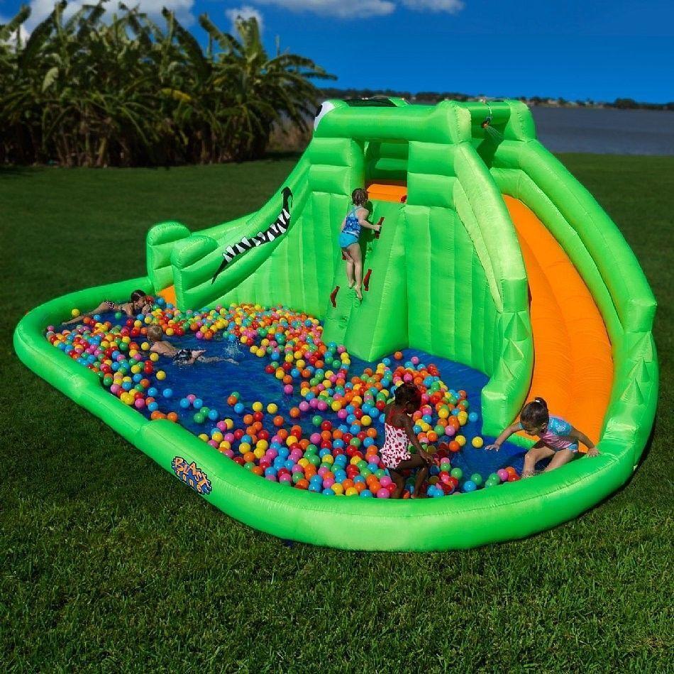 Superb Best Backyard Inflatable Water Slides Part - 9: Blast Zone Crocodile Isle
