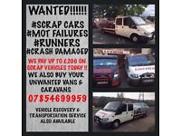 £200 cash for scrap cars, vans or why also mot failures!! We also buy caravans!! Cash paid today!!