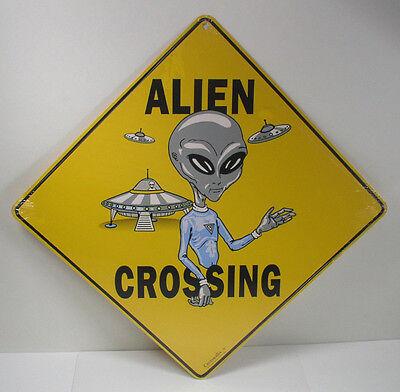 "Crosswalks by Atlas Screen Printing 12"" x 12"" Alien Crossing Sign, Aluminum"