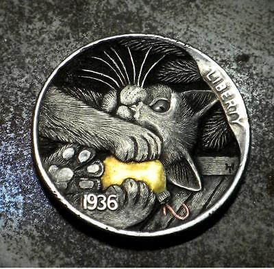 Original Hobo Nickel Cat Kitten Coin by Howard Thomas OOAK 24kt gold inlay
