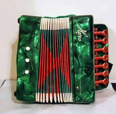 Vintage Green Hero Childs Accordion UC 102 WITH BOX