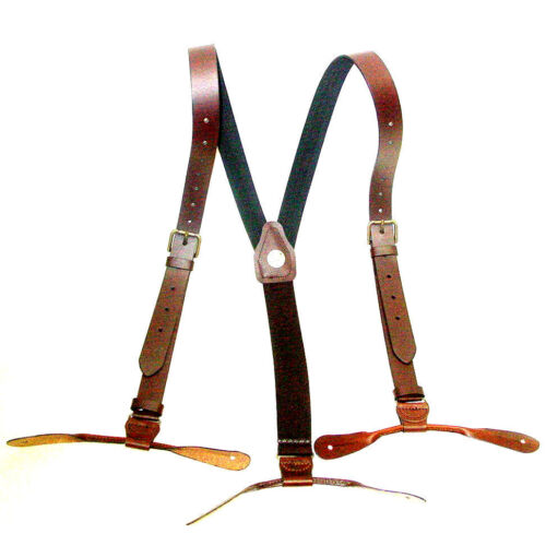 Brown Leather 1inch wide Suspenders Old West Brass Buckles Button leather Ends