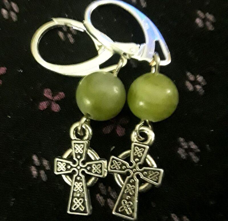 Sterling Silver Filled Connemara Marble Irish Green Celtic Cross Lever Earrings