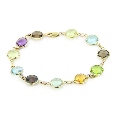 14K Yellow Gold Round Shape Fancy Cut Gemstones Bracelet 8 Inches