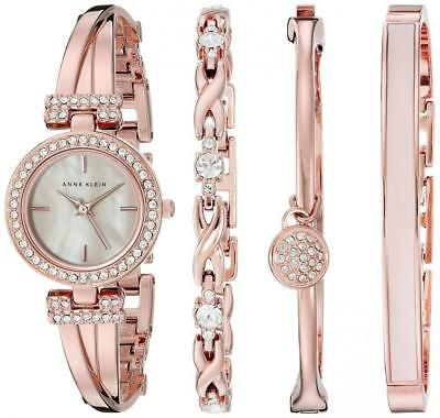 NIB Anne Klein AK/2238RGST Swarovski Crystal-Accented Watch and Bracelet Set 4PC