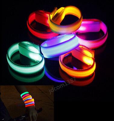 Glowing LED Wrist Band Lights Flash Nylon Cuff Bracelet Running Gear