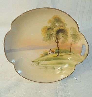 Vintage Nippon Hand Painted one-Handled Dish river tree scene 725