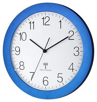 TFA 60.3512.06 Funkwanduhr analog blau 300mm Funkuhr Sweep Uhrwerk lautlos
