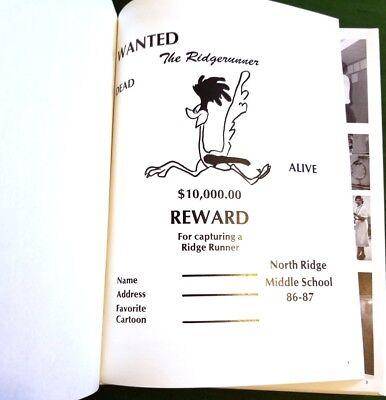 Vintage 1986-1987 North Ridge Middle School The Ridgerunner Yearbook