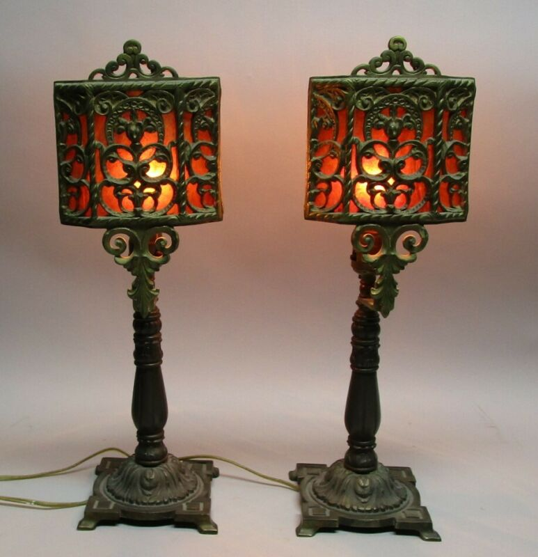 Fine Pair of Antique ARTS & CRAFTS Mica & Cast Metal Lamps  c. 1925  Oscar Bach