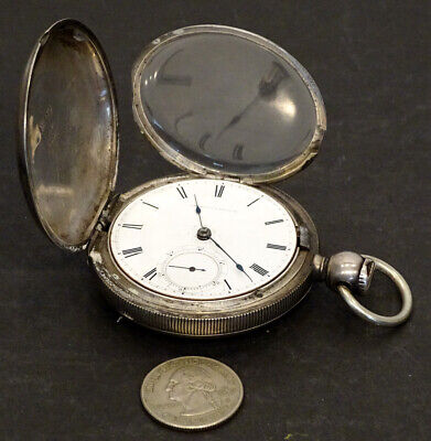 AMERICAN Waltham ELLERY Antique 18S POCKET WATCH Key Wind GG&Co COIN SILVER Case