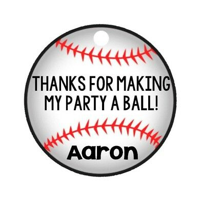 12 Personalized BASEBALL softball ball sports birthday party favor tags! - Softball Party Favors