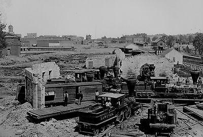 1864 Confederate Train Railroad Ruins PHOTO Atlanta Civil War CSA Engine House