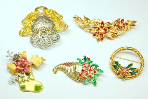 Lot of 5 Vtg Christmas Brooch Gold/Silver Tone Angel Stocking Poinsettia Wreath