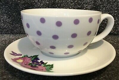 💜PAPERCHASE Breakfast Cup & Saucer White Mauve Spots & Floral (New Other)💜 White Breakfast Cup