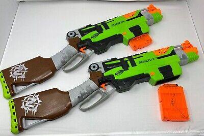 (2)Nerf Gun Zombie Strike Slingfire Lever Action Rifle Blaster with 2 Magazines