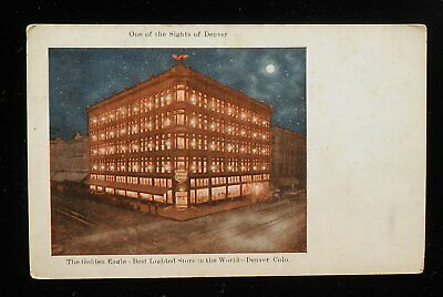 1900s The Golden Eagle at Night Best Lighted Store in the World Moon Denver (Stores In Denver Co)
