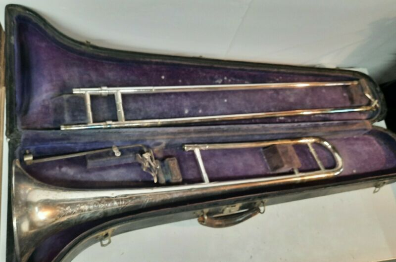 Elkhart Silver Trombone With Gold Bell Rare Antique Vintage No mouth Piece 10195