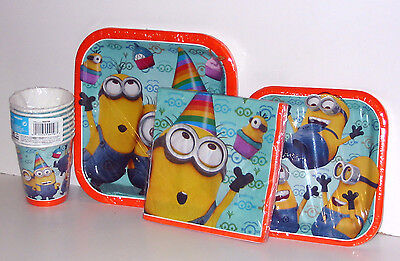 Minions Birthday Office Party Set 8 Dessert Plates,Cups,Large Plates,16 Napkins  - Minions Dessert