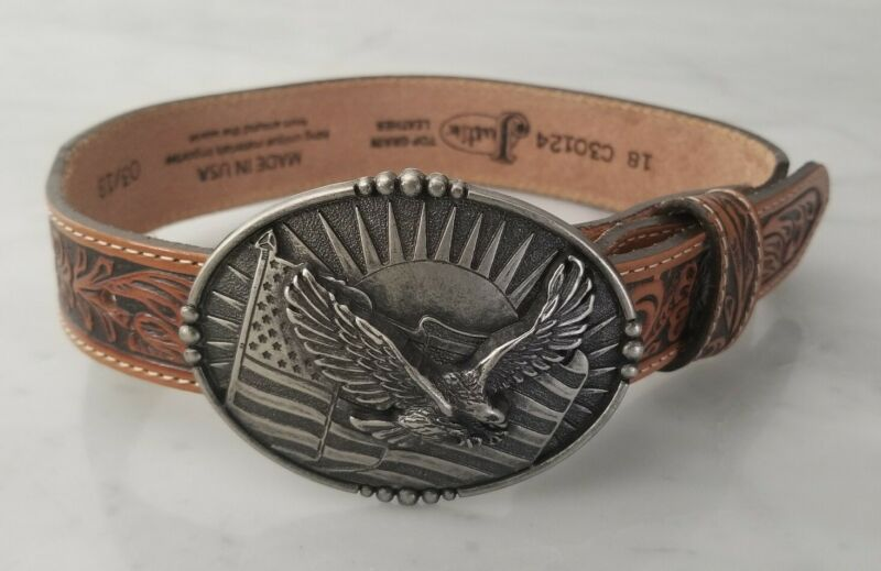 Cody James Patriotic Eagle Buckle Justin lil Trigger Embossed Leather Strap Boys