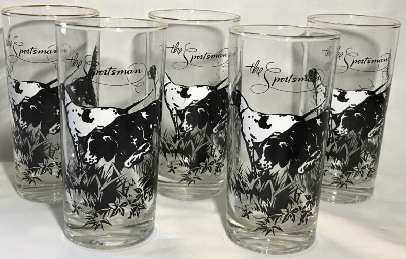 5 Rare Vintage The Sportsman English Setter Clear Drinking Glass Hunting Dog Cup