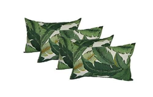 Set of 4 - Decorative Rectangle Throw Pillows - Green & Whit
