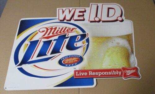LARGE Miller Lite Beer Brew Live Responsibly We ID Bar Pub Tavern Metal Sign -