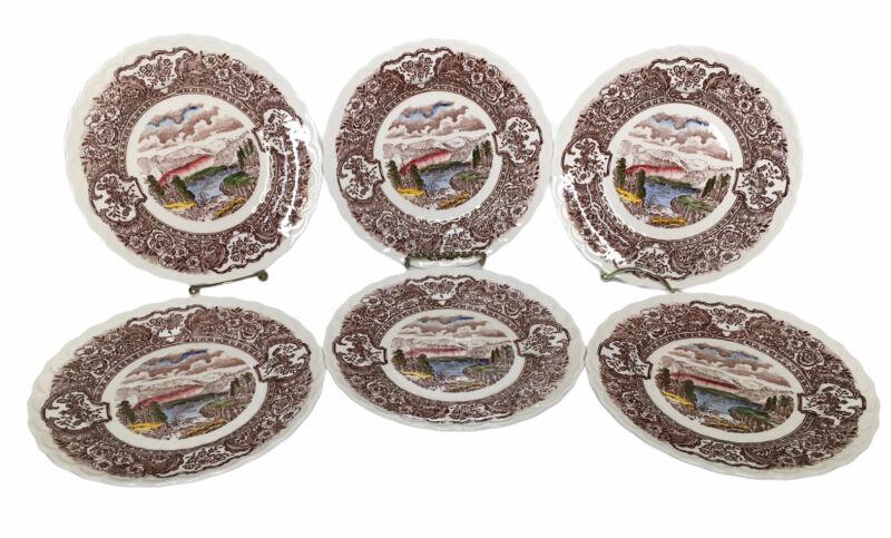 "Lot Of 6 Vernon Kilns 1860 Vintage Scenic 7 1/4"" Dessert Plates California"