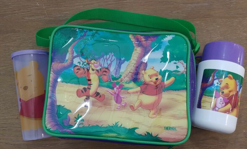 VINTAGE DISNEY WINNIE THE POOH SOFT LUNCH BOX, THERMOS,   TUPPERWARE CUP 107M-5