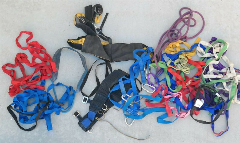 Vtg Lot of Climbing straps & Gear harnesses Carabiners Nice