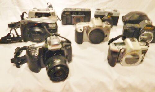 Lot of 10 Film Cameras, Lens & Flash Units,